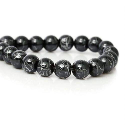 "55 Hematite Beads Round Black & Sliver Texture  8.0mm( 3/8"") Dia, Hole: Approx 1.5mm"